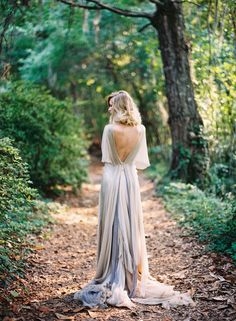 Amazing soft grey backless gown