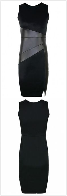 Just $17.99 now! Fashion Black Mini Bodycon Dress With PU Patchwork. The little black dress featuring PU paneled,round neck, sleevelesss, side hidden zip closure,bodycon silhouette. Pair it with a black ankle boots!