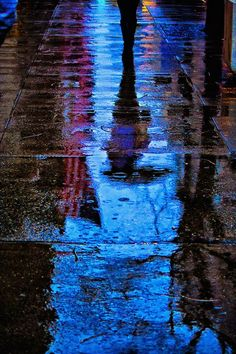 Reflecting in the rain.