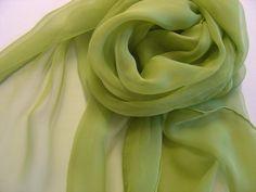 Seidenschal 180x55cm  limone Chiffonschal Stola von Textilkreativhof auf DaWanda.com