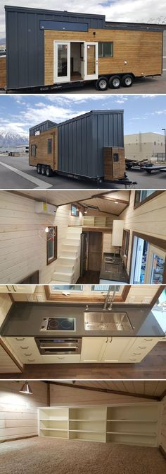 "Nicknamed the ""Warehouse"" because of all its storage space, this 30' tiny house was built by Alpine Tiny Homes and destined for Park City, Utah."