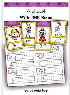 Write the Room - Alphabet (predominantly CVC words). Fun word work activity!