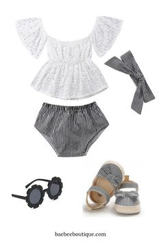 This lace striped bloomer outfit is perfect for summer. With its lightweight material, your little one can stay comfortable while looking stylish. Stylish Baby Clothes, Striped Shorts, Stripe Print, Shoulder Sleeve, One Piece, Child, Boutique, Group, Lace