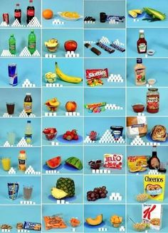 This is a really good visual.How much sugar do you really eat? This is just a comparison: good sugar is from fruit, bad from processed food. It's interesting to see how sugar is hidden in our foods =) Health And Nutrition, Health And Wellness, Health And Beauty, Health Fitness, Fitness Diet, Get Healthy, Healthy Tips, Healthy Foods, How Much Sugar