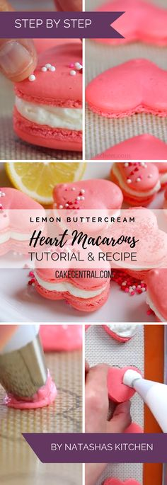 Heart Macarons are easier than you think! Heart-shaped macarons with tangy-sweet lemon buttercream. Includes video tutorial   free...