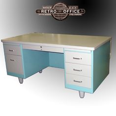 Retro Office Vintage American Steel Furniture Specializes In Vintage Steel desks and Steelcase Vintage Steel Tanker Desks Steel Furniture, French Furniture, Cool Furniture, Furniture Refinishing, Office Furniture, Painted Furniture, Metal Desk Makeover, Desk Redo, Retro Office