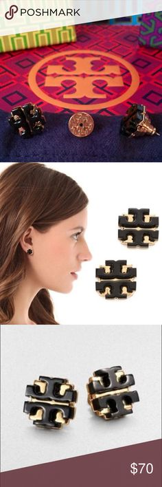 Tory Burch Stud Earrings! Authentic Tory Burch Black & Gold Logo Earrings! Great Condition. Comes with bag and Box! Tory Burch Jewelry Earrings