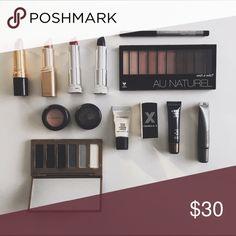 "Beauty bundle!! Wet n' Wild Au Naturel eyeshadow palette // Almay intense i-Color eyeliner pencil in black // Covergirl lipsticks in ""Blackest Berry"" and ""Rum Riche"" // L'Oréal Paris lipstick in Bronze Coin"" // Revlon lipstick in ""Coffee Bean"" // Mary Kay eye primer // Lorac eye primer // MAC Cosmetics strobe cream // Formula X nail polish in ""Huntress"" // Okalan Natural Color eyeshadow palette in blacks and grays // two MAC Cosmetics eyeshadow pots in Moth Brown and Sweet Lust (both used)…"