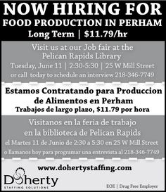 Join us in Pelican Rapids for a food production job fair, June 11