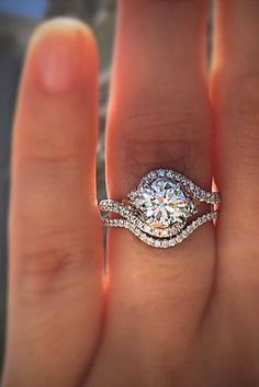 Check this out > Solitaire Engagement Rings With Diamond Wedding Band Unique Diamond Engagement Rings, Solitaire Engagement, Diamond Rings, Wedding Engagement, Wedding Bands, Engagement Bands, Amazing Engagement Rings, Halo Diamond, Diamond Dreams