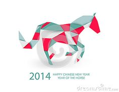 Chinese new year of the Horse abstract triangle illustration. by Cienpies Design / Illustrations, via Dreamstime