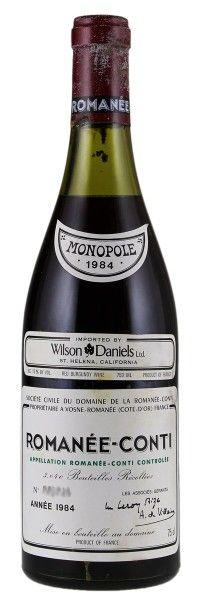 1984 Domaine De La Romanée-Conti Romanée-Conti. Type: Red Wine, Pinot Noir, Grand Cru, 750ml. Region: France, Burgundy, Cote d'Or, Cote de Nuits, Vosne-Romanée, Romanée-Conti. 6.780$ (169.500 Kc)