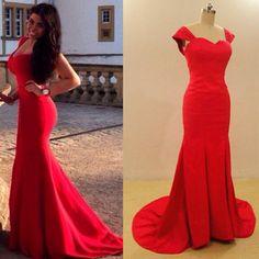 Charming Prom Dress,Mermaid Prom Dress,Long Prom Dress,Simple Red