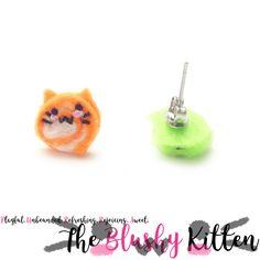 The Blushy Kitten Swirl Candy Felt Stud Earrings, Felt Swirl Candy Earrings, Felt Animal Hybrid Earrings, Customise,Stainless Steel Earrings by TheBlushyKitten on Etsy