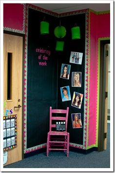 """""""Celebrity of the Week"""" corner ... so cute!  For each student there is a big, yellow star added to the wall with the student's name and hand prints in paint like on Hollywood Blvd!"""