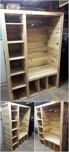 Over here, we have the innovative design of the wood pallet for you where the custom designing of the cupboard project has been put together. The interior portion of the cupboard has been all carried out with the divisions of the shelves that is giving out the perfect taste.