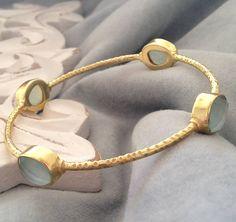 gold and aqua bangle by ashiana for hurleyburley   notonthehighstreet.com