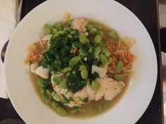 One Pot Cod with Cabbage and Edamame from themom100.com.  Light, elegant, inexpensive, easy, quick and -- most importantly -- very, very warming.