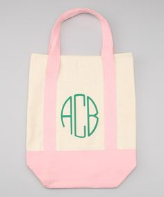 Take a look at this Pink & Green Canvas Monogram Tote Bag by Preppy Mama on #zulily today!