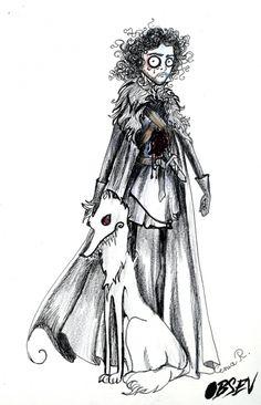 If Tim Burton Drew Game of Thrones - Jon and Ghost