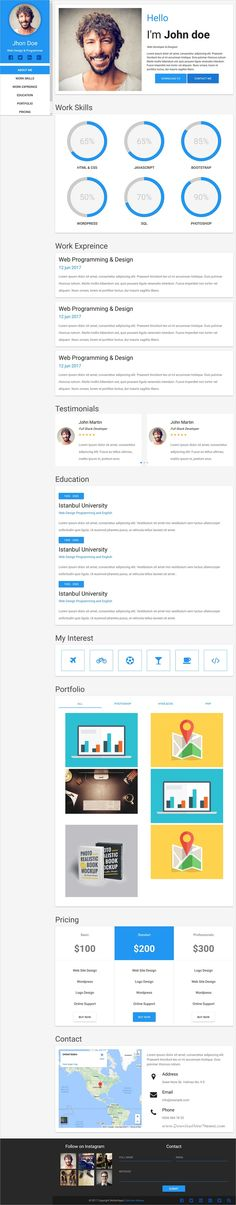 Sobnom is fresh and clean Design 2in1 responsive HTML #bootstrap - html resume