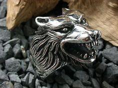 Silber Wolfskopf Ring, Wolf, Bikerschmuck, Gothic, Metal, Sterling Silber 925