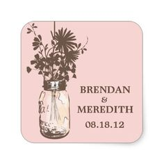 Mason Jars and Wildflowers Wedding Stickers
