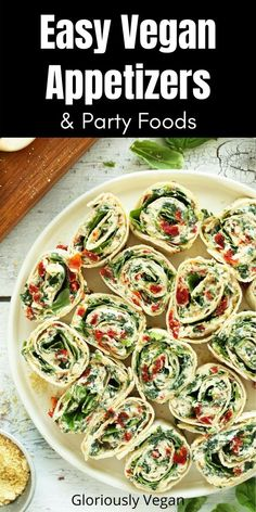 Easy vegan appetizers and party finger food perfect for any party or social gathering. Healthy gluten free vegan appetizers and starters made from tofu, zucchini, eggplant served with delicious dips and sauce. #appetizersforparty #veganrecipes #veganappetizers #fingerfood #partyfood Vegan Snacks On The Go, Healthy Vegan Snacks, Vegetarian Snacks, Vegan Appetizers, Vegan Dinners, Quick Easy Vegan, Easy Vegan Dinner, Vegan Dinner Recipes, Easy Healthy Recipes