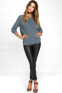 Slate Blue Sweater - Knit Top - Backless Sweater - V-Back Sweater - $39.00
