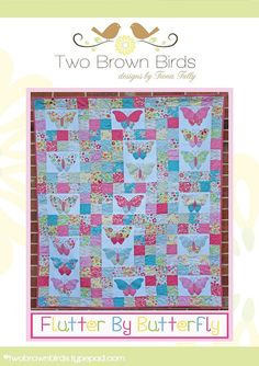 This delightful quilt pattern designed by Fiona Tully of Two Brown Birds can be made using a pretty pastel fabric range. The quilt can be made using Butterfly quilt pattern