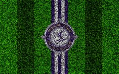 Download wallpapers Osmanlispor FC, 4k, football lawn, logo, grass texture, Osmanlispor emblem, purple white lines, Turkish football club, Super Lig, Ankara, Turkey, football, Turkish Super Soccer