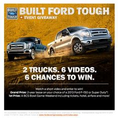 """-Are you """"Built Ford Tough""""? Win a chance to win a 2 year lease on a new 2013 Ford F-150 or Ford Super Duty! Click here to enter: https://www.fordeventgiveaway.com/   #ford #car #cars #contest #f150 #superduty #automobiles #automobile #giveaway #winning #flashpoint"""
