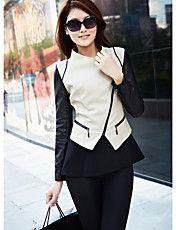 Dames Contrast Color Revers Zipper korte vach... – EUR € 42.07