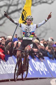 Mathieu van der Poel celebrates his victory in Hoogerheide