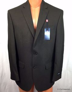 Chaps Mens Sport Coat Jacket Blazer 40R Brown Elbow Patches Classic Fit #Chaps #TwoButton