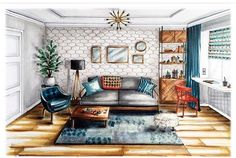 Are you looking to brighten up a dull room and searching for interior design tips? Interior Architecture Drawing, Interior Design Renderings, Drawing Interior, Interior Rendering, Interior Sketch, Interior And Exterior, Architecture Design, Classical Architecture, Perspective Room