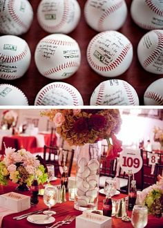 baseball themed wedding...I would most likely never ever do this, but it is quite elegant for baseball!