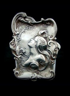 Unger Brothers Sterling Silver Art Nouveau Woman Tray.
