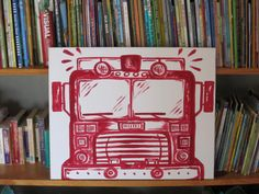 red fire truck canvas 16x20 @etsy by sincerelyYOU $30