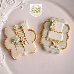 Paris themed cookie set - gold ballroom chair cookie. Bella Sucre