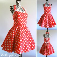 A personal favourite from my Etsy shop https://www.etsy.com/au/listing/510713743/pin-up-dress-rockabilly-dress-polka-dots