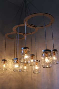 Mason Jar Chandelier : might be good idea with floating candles over the bar