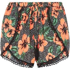 Pink And Black Jungle Print Layered Shorts ($8.33) ❤ liked on Polyvore featuring shorts, bottoms, short, print shorts, patterned shorts and mini shorts