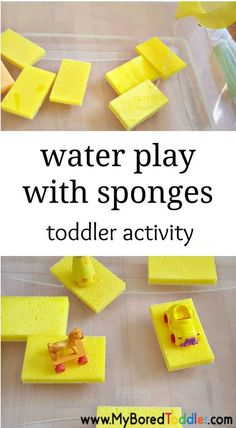 water play with sponges simple toddler water play activity. A fun spring activity for toddlers or summer activity for toddlers. Part of our water play collection for babies and toddlers at myboredtoddler.com
