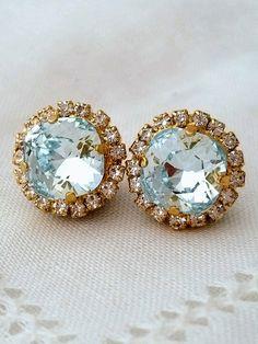 Ice blue aquamarine stud earrings | bright blue earrings | crystal earrings | Swarovski earrings | bridal earrings | bridesmids earrings | wedding jewelry | by EldorTinaJewelry | http://etsy.me/1LqKRlU
