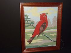 Vtg Mid Century PBN Paint By Number Scarlet Tanager Red Bird Craftint 1958 #Realism