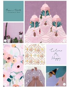 """We're in love with this palette of purple tones with teal and deep green, and as Pantone of the Year is """"Ultra Violet"""" this year, we thin. Colour Schemes, Color Trends, Color Patterns, Colour Palettes, Color Palate, Illustration, Colour Board, Color Stories, Color Swatches"""