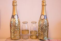DIY perfect cadeau voor kerst (of oud Champagne, Glitter, Decoration, Bottle, Happy, Diy, Dekoration, Do It Yourself, Bricolage