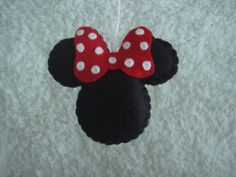 cute felt classic Minnie Mouse ornament decoration red white polka dot bow
