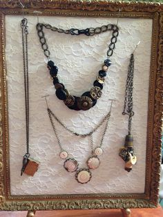 Vintage Cindy necklaces made from antique buttons and sewing items. #buttonjewelry #buttonnecklace #antiquebuttons